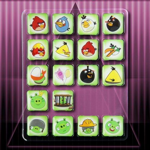 18 Piece Angry Birds Icon Magnets Fridge Set