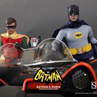 1966 Batman and Robin Sixth-Scale Figures with Batmobile
