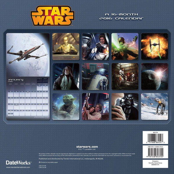 2016 Star Wars 16 Month Calendar