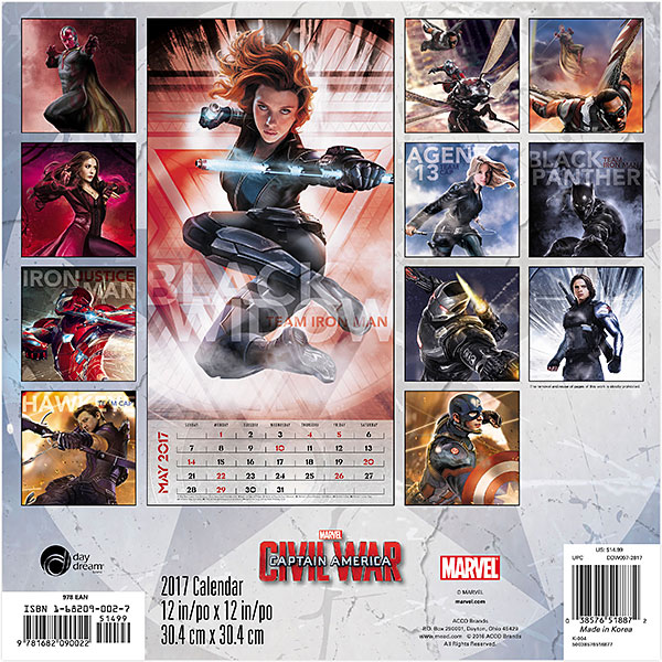 2017 Captain America Civil War Calendar