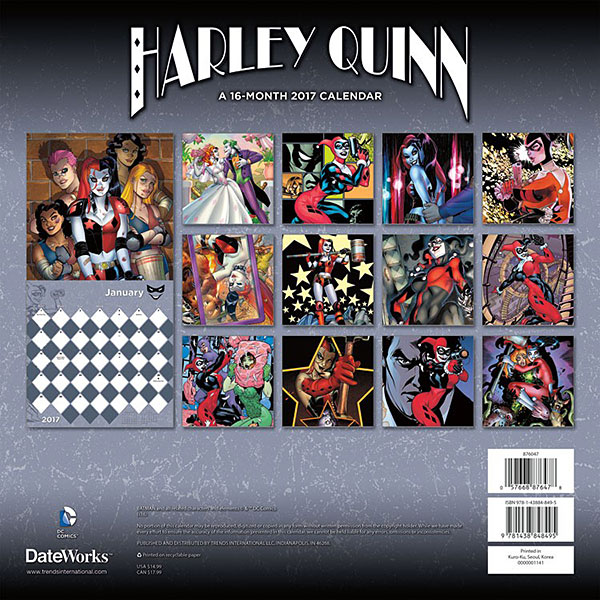 2017 Harley Quinn Wall Calendar