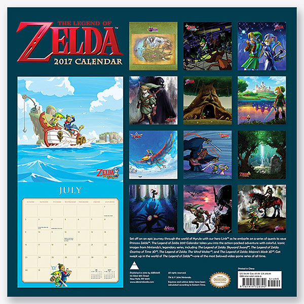 2017 Legend of Zelda Wall Calendar