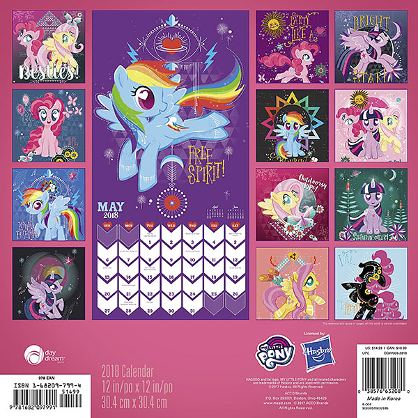 2018 My Little Pony Wall Calendar