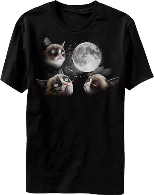 3 Grumpy Cat Moon T-Shirt