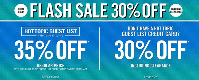 30% Off Hot Topic Flash Sale