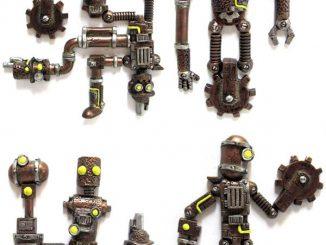 3D Steampunk Robot Magnet Sets
