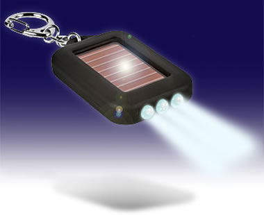 3-LED Solar Powered Flashlight Keyring