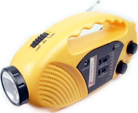 Solar + Dynamo Survival Radio - Temperature Gauge + Flashlight