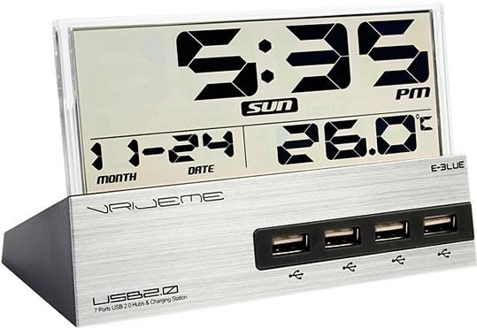 7-Port USB  Hub Alarm Clock with Thermometer