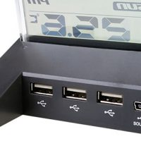 7-Port USB  Hub Alarm Clock with Thermometer