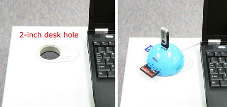 In-Desk USB 7 Port Hub + Card Reader Combo