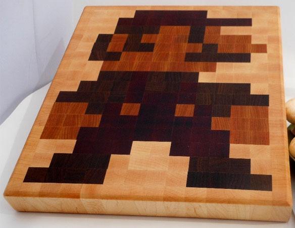 8 bit Mario end grain cutting board