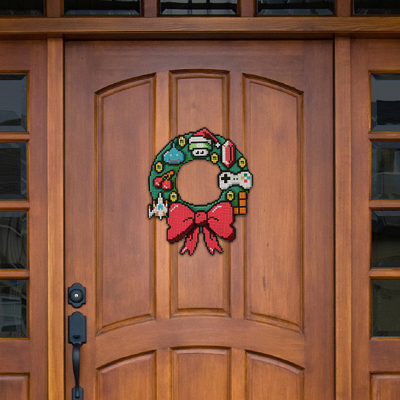 8-Bit LED Holiday Door Wreath