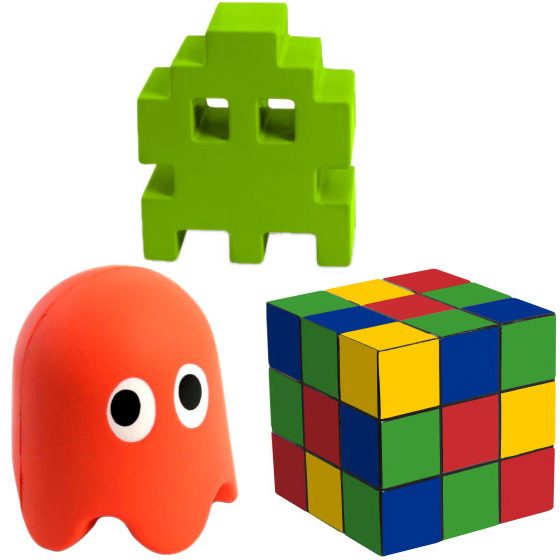 80s Stressballs - Pacman, Space Invaders, Rubiks Cube