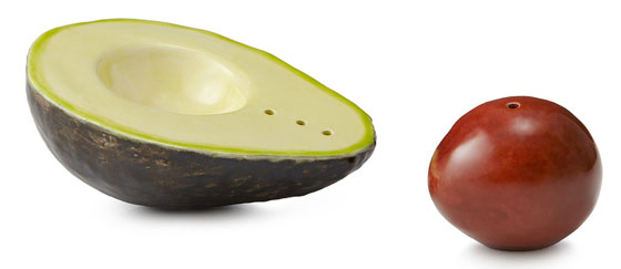 AVOCADO SHAPED SALT & PEPPER SHAKERS