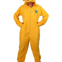 Adventure Time Jake Footed Hooded Adult Pajamas