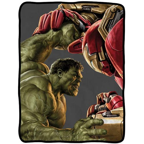 Age Of Ultron Hulkbuster Close Fight Fleece Throw Blanket