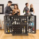 Alexandria Expandable Home Bar Liquor Cabinet - Open