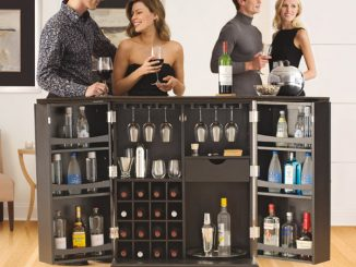 Alexandria Expandable Home Bar Liquor Cabinet - Open