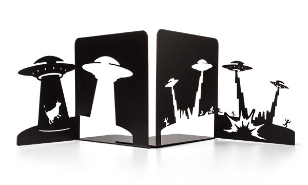 Alien Abduction Metal Bookends