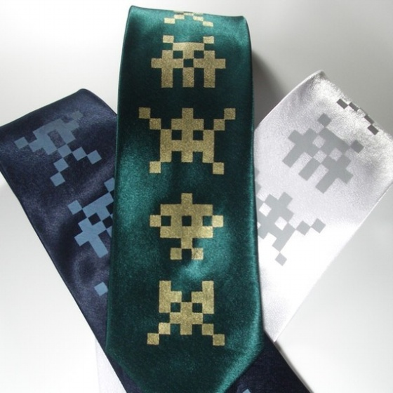 Space Invaders Silk Tie