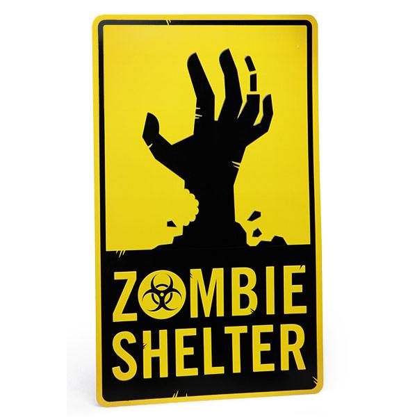 Aluminum Zombie Shelter Sign