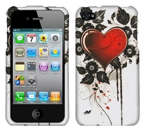 Apple iPhone 4S Heart and Black Leaves on Silver