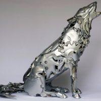 Arctic Wolf Hubcap Statue