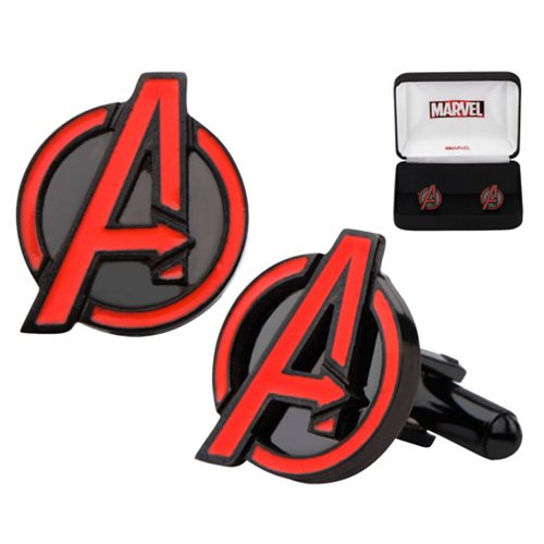 Avengers A Red Logo Stainless Steel Cufflinks