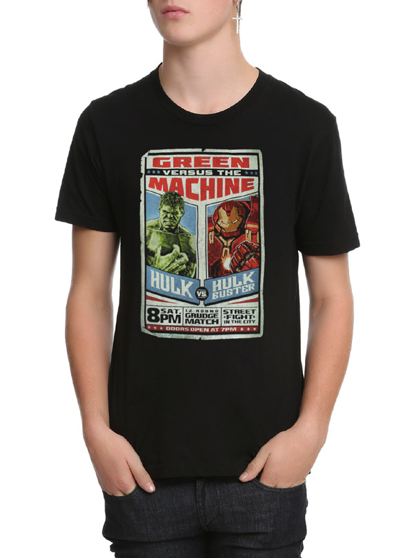 Avengers age of ultron hulk vs hulkbuster t shirt for Dropkick murphys mural