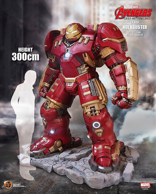 Avengers Age of Ultron Iron Man Hulk Buster 1-1 Scale Life-Size Light-Up Statue