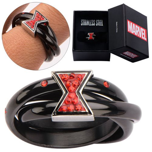 Avengers Black Widow Symbol Red Bling Gems Ring