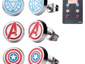 Avengers Stainless Steel Round Ear Stud Earrings 3-Pack