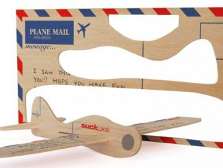 BALSA WOOD POSTCARD AIRPLANE
