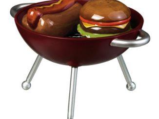 Backyard BBQ Hamburger and Hot Dog on the Grill Salt and Pepper Shaker Set