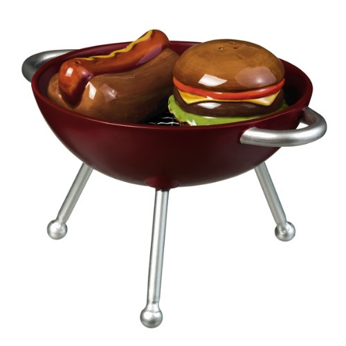 Backyard BBQ Hamburger and Hot Dog on the Grill Salt and Pepper Shaker Set