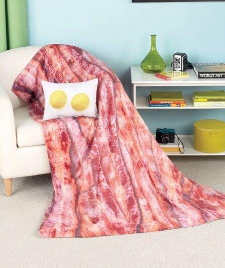 Bacon Eggs Blanket Pillow Set