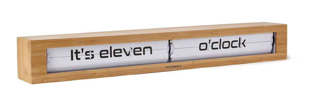 Bamboo Text Time Statement Clock