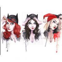 Batgirl Catwoman Harley Quinn Art Print