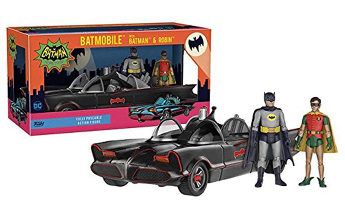 Batman 1966 TV Series Batman and Robin Figures with Batmobile Vehicle