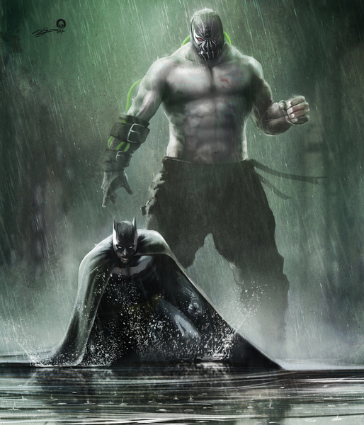 Batman Bane V The Bat Art Print