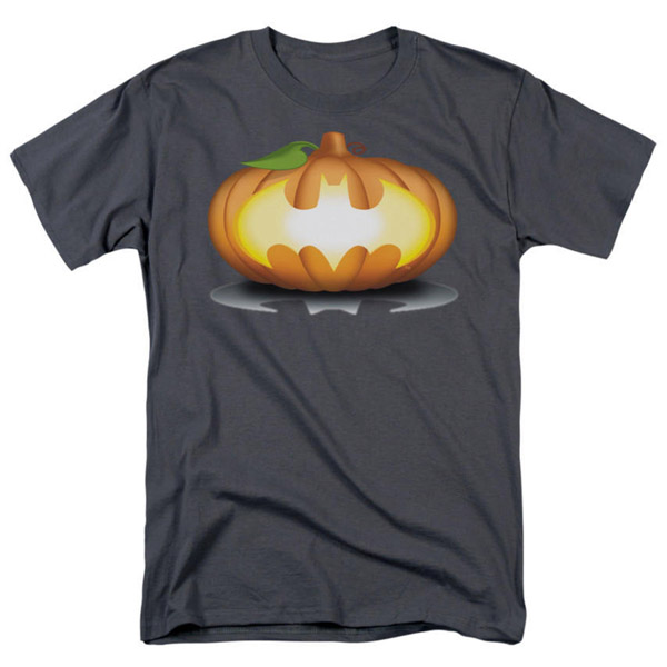 Batman Bat Pumpkin Logo Adult Charcoal T-Shirt