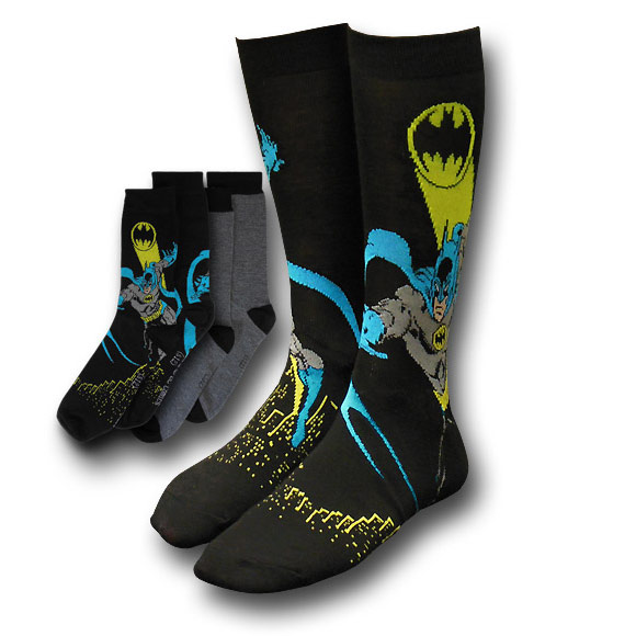 Batman Bat Signal Image and Grey Socks