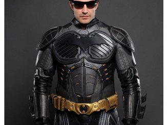 Batman Begins Leather Jacket NOMEX Pre-Suit Replica with Bat Logo