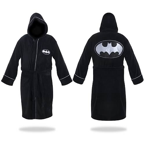 Batman Black and Silver Hooded Cotton Bathrobe