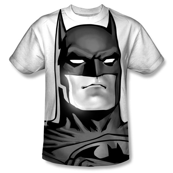 Batman Black and White Adult Allover Print T-Shirt