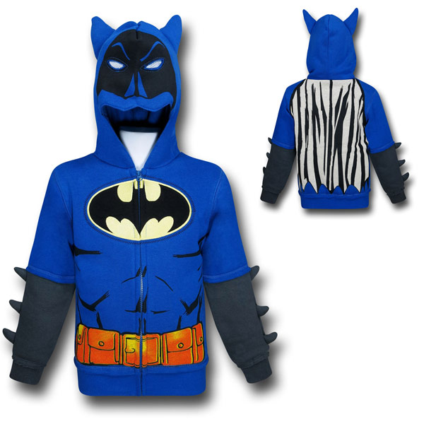 Batman Blue Kids Costume Hoodie with Cowl