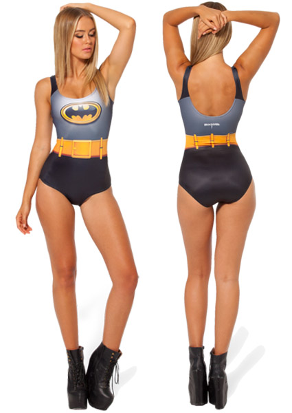Batman Cape Swimsuit Front and Back