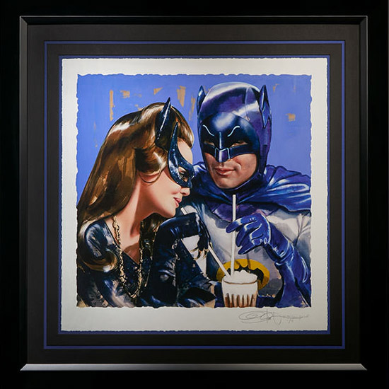 batman-catwoman-meanwhile-at-the-sweet-shoppe-art-print-framed