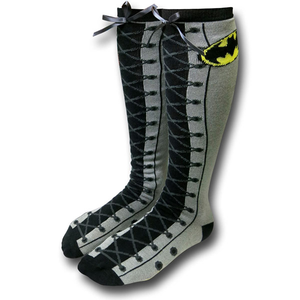 Batman Faux Lace-Up Knee High Socks